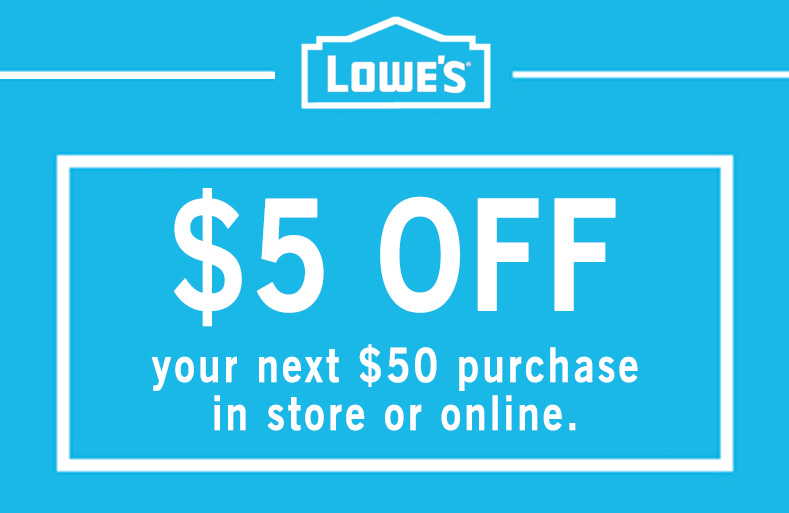 1X $5 OFF $50 IN-STORE or ONLINE