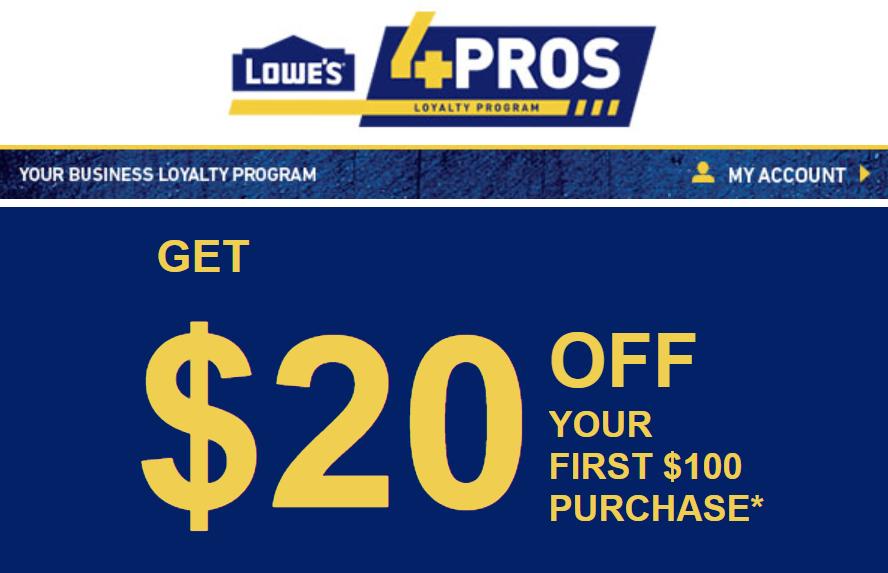 2X $20 OFF $100 LOWESFORPROS.COM or INSTORE