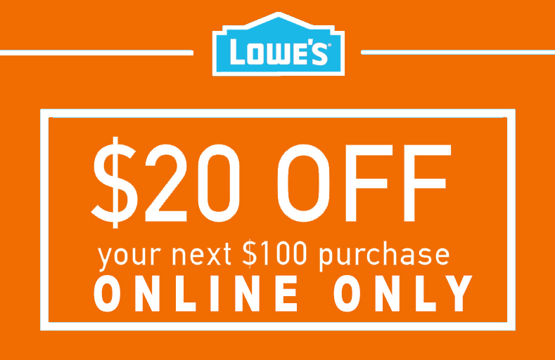 1X $20 OFF $100 ONLINE ONLY